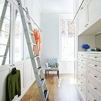 Atlanta Homes & Lifestyles - closets - ladder, closet ladder, ladder for closet, walk in closet ladder, mirrored closet cabinets, mirrored cabinet doors,