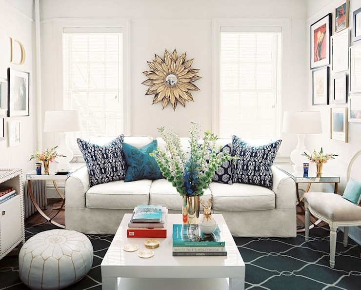 Suzie: Daniel Pafford  Lonny Mag  white &amp; blue chic contemporary living room design with chunky ...