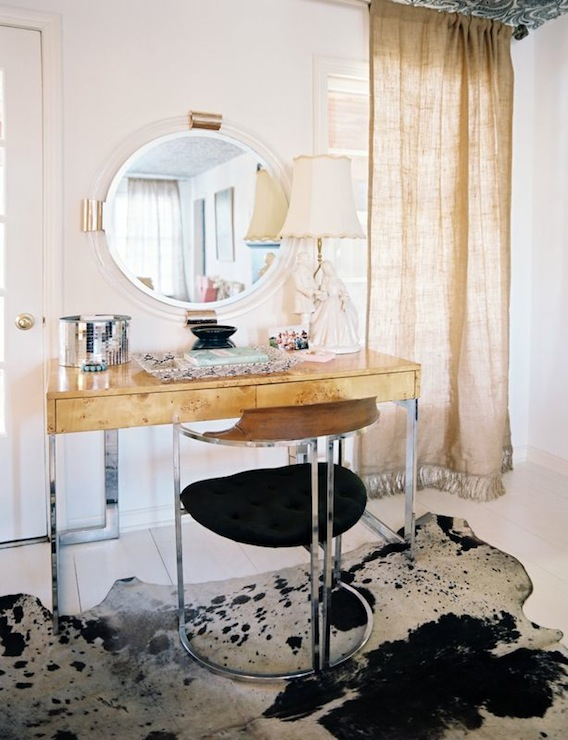 Lonny Magazine - bedrooms - Hollywood Regency, art deco, hollywood regency vanity, polished chrome chair, chrome vanity chair, cowhide rug, whitewashed floor,