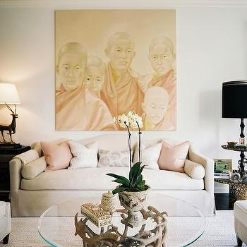 Pink and Tan Living Room, Eclectic, living room, Jeneration Interiors
