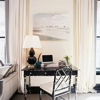 Christina Murphy Interiors - dens/libraries/offices - black desk, bamboo desk, faux bamboo desk, black bamboo desk, black faux bamboo desk, bamboo chair, black bamboo chair, black double gourd lamp, black window moldings, desk in living room, living room desk, diamond pattern rug,
