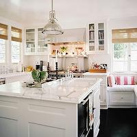 Jeneration Interiors - kitchens - white, kitchen, cabinets, calcutta, marble, counter tops, stacked dishwashers, white, kitchen island, built-in, storage, banquette, pink, striped, pillows, ebony, wood floors, Restoration Hardware Harmon Pendant,
