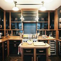 Christina Murphy Interiors - kitchens - glossy, black, kitchen, cabinets, butcher block, counter tops, wine, fridge,  Black eclectic kitchen