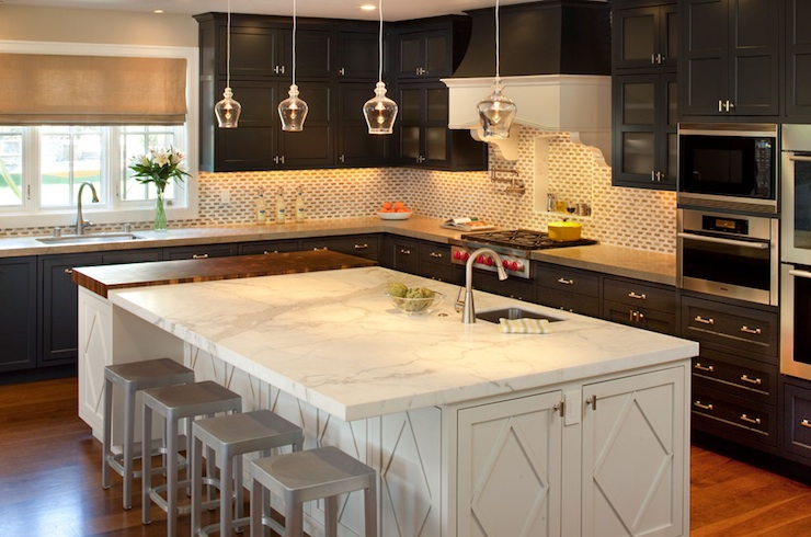 kitchens - glossy black kitchen cabinets white black backspalsh white diamond kitchen island calcutta gold marble counter tops mini glass pendants