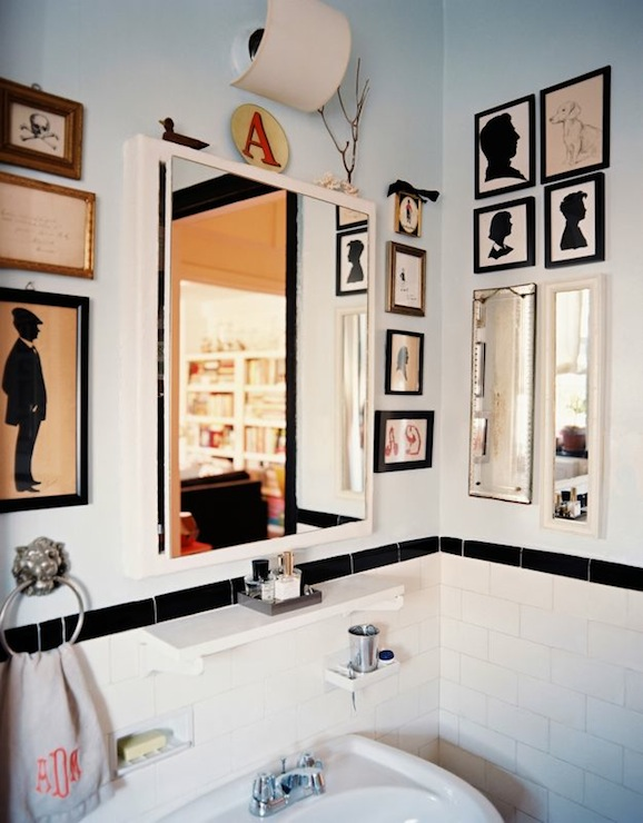 Lonny Magazine - bathrooms - Ralph Lauren - Cloud Blue - blue, walls, powder room, white, medicine, cabinet, silhouette, art,  Angel Dormer -