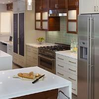 Artistic Designs for Living - kitchens - chalkboard, fridge, doors, modern, white, glossy, kitchen cabinets, cherry, kitchen cabinets, quartz, counter tops, modern, hardware, pulls, green. glass, tiles, backsplash, acrylic, lucite, bar stools, cherry, kitchen island, Dessa Acrylic Adjustable Stool,