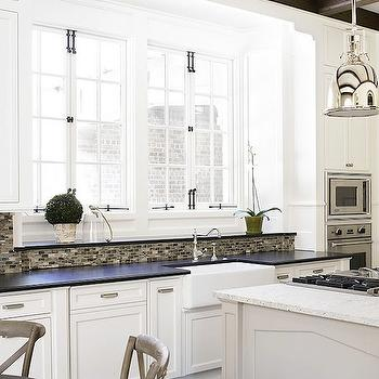 Brian Watford Interiors - kitchens - french windows, white cabinets, white kitchen cabinets, white cabinets with black countertops, two tone countertops, Restoration Hardware Benson,