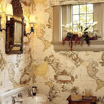 bathrooms - world map wallpaper, vintage world map wallpaper, vintage map wallpaper,  Map Bathroom  adorable boy's bathroom design with white