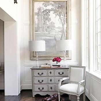 Tracery Interiors - entrances/foyers - gray chest, french chest, gray french chest, herringbone floor, herringbone wood floor,  Elegant, chic