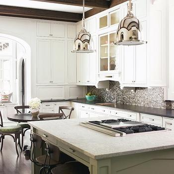 Brian Watford Interiors - kitchens - wood beams, architects stools, vintage architects stools, bar stools, vintage bar stools, two tone countertops, white kitchen cabinets, mosaic tile backsplash, Restoration Hardware Benson Pendant,