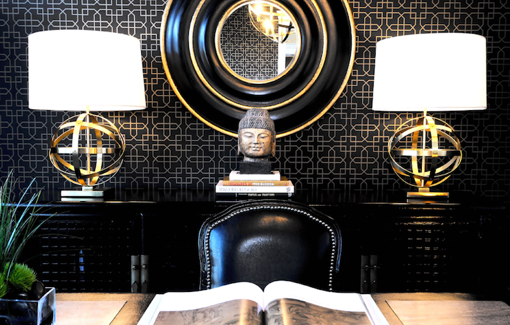 Atmosphere Interior Design - dens/libraries/offices - Robert Abbey Brass with Oyster Linen Shade Accent Lamp, black and gold office, black and gold mirror, sphere lamps, sphere table lamps, brass sphere lamps, antique brass sphere lamps, black credenza, black cabinet,