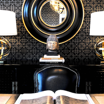 Atmosphere Interior Design - dens/libraries/offices - black and gold office, black and gold mirror, sphere lamps, sphere table lamps, brass sphere lamps, antique brass sphere lamps, black credenza, black cabinet, Robert Abbey Brass with Oyster Linen Shade Accent Lamp,