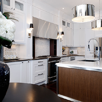 Atmosphere Interior Design - kitchens - espresso, kitchen island, calcutta, marble, counter tops, white, Ikea, kitchen, cabinets, marble, tiles, backsplash, modern, polished nickel, sconces, black, granite, counter tops, Robert Abbey Porter Nickel Pendant Light,