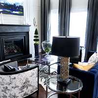 Atmosphere Interior Design - living rooms - gray, silk, drapes, royal blue, tufted, modern, sofa, yellow, silk, pillows, blue, velvet, pillows, white, black, toile, modern, chairs, square, polished nickel, coffee table, white, black, zebra, cowhide, rug, oile fabric, black and white toile fabric, toile chair, toile fabric chair, black and white chair, black and white toile chair,