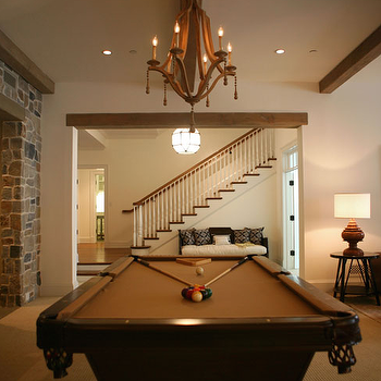 Giannetti Home - basements - pool table, exposed wood beams, pool room, basement pool room, wine barrel chandelier, Currey and Company Simplicity Chandelier,
