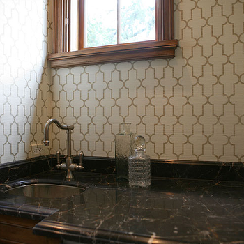 Giannetti Home - kitchens - butler's pantry, trellis wallpaper, moroccan wallpaper, gray moroccan wallpaper, quatrefoil wallpaper, moorish tiles wallpaper, black marble, black marble countertops, Phillip Jeffries Voyage Collection Moroccan Metallic Wallpaper,