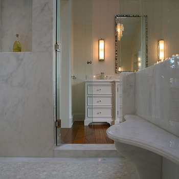 Calcutta Marble Shower, Transitional, bathroom, Giannetti Home