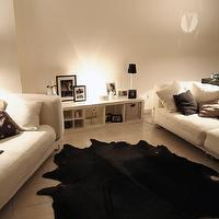 living rooms - cowhide rug, black cowhide rug, white sofas,  Living Room