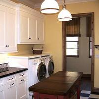 Design Moe - laundry/mud rooms - yellow, walls, white, washer, dryer, black, counter tops, white, black, checkered, floors,  Sunny white &amp; yellow