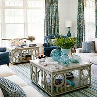 House Beautiful - living rooms - dash albert rug, blue walls, beach, window wall, navy chairs, slipcovered couch, beach cottage living room, square coffee table,