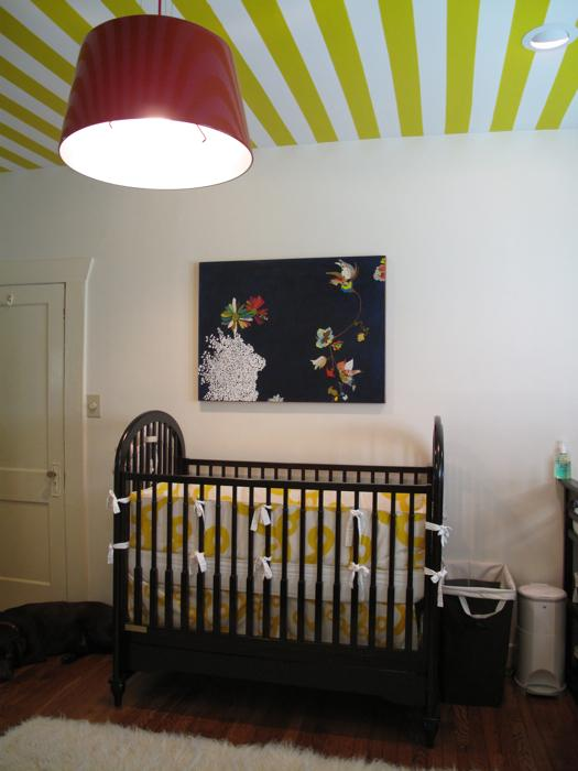 nurseries - white yellow striped ceiling black vintage crib yellow crib bedding red tapered drum pendant chandelier  Marianne Strong Interiors