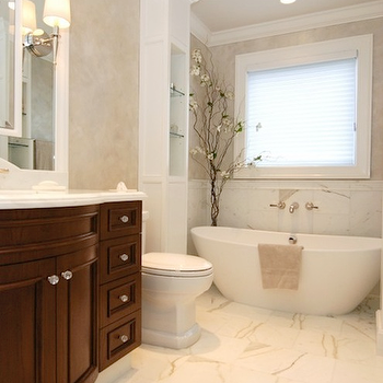 AMI Designs - bathrooms - calcutta marble countertop, calcutta marble, calcutta marble shower, calcutta marble shower surround, calcutta marble tile shower, calcutta marble tile bathroom, curved bathroom vanity, modern bathtub,