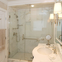 AMI Designs - bathrooms - calcutta marble countertop, calcutta marble, calcutta marble shower, calcutta marble shower surround, calcutta marble tile shower, calcutta marble tile bathroom, walk in shower, curved bathroom vanity,