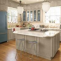 Southern Living - kitchens - painted cabinets, gray kitchen cabinets, hand painted kitchen cabinets, gray hand painted cabinets, bleu fridge, blue refigerator,