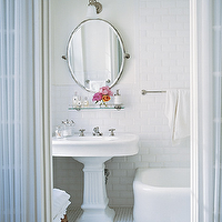Elle Decor - bathrooms - white, pedestal, sink, oval, pivot, mirror, vintage, glass, shelf, white, carrara, marble, basketweave, tiles, floor, beveled, subway, tiles, backsplash,