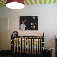 Marianne Strong Interiors - nurseries - white, yellow, striped, ceiling, black, vintage, crib, yellow, crib bedding, red, tapered, drum, pendant, chandelier, striped nursery, striped nursery walls, yellow striped walls, yellow striped nursery, yellow striped nursery walls, white and yellow striped walls, white and yellow striped nursery, white and yellow striped nursery walls,