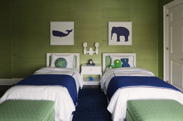 Lauren Stern Design - living rooms - green grasscloth, green grasscloth wallpaper, green and blue boys room, green and blue boys bedroom, art over bed, twin beds, twin white beds, green and blue bedding, kids room, shared kids room, shared kids bedroom, shared nightstand,