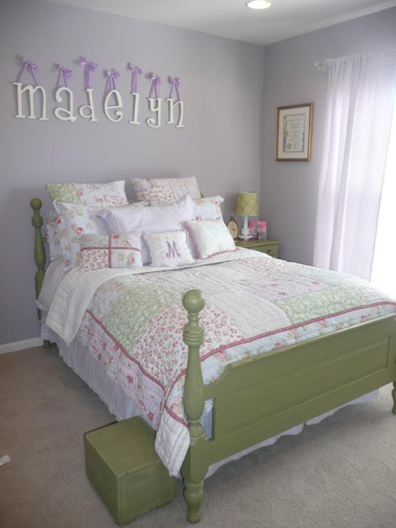 girl's rooms - Sherwin Williams - Veiled Violet - lavender walls, green furniture, girl bedroom,  bedroom  My oldest daughter's bedroom in our
