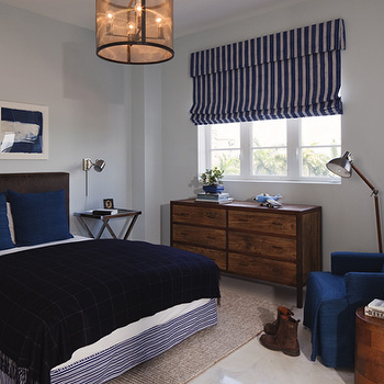Lauren Stern Design - boy's rooms - blue and brown boys room, blue and brown boys bedroom, striped roman shade, navy blue roman shade, striped navy roman shade, boys dresser, blue bedding, boys bedding, whale art, triptych art, triptych whale art,