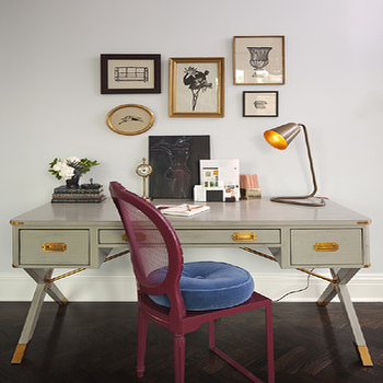 Lauren Stern Design - dens/libraries/offices - art gallery, campaign desk, gray campaign desk, desk, gray desk, grey desk, x base desk, gray x desk, gray x base desk, fuchsia chair,