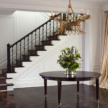 Lauren Stern Design - entrances/foyers - foyer, foyer table, round foyer table, entry, round entry table, round entrance table, herringbone wood floor, herringbone floor, wood herringbone floor, dark wood herringbone floor,