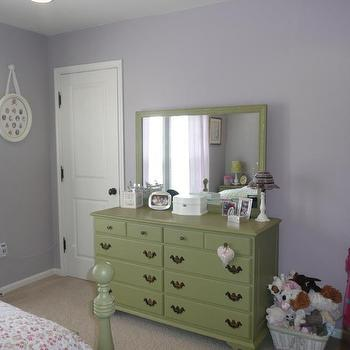 girl's rooms - lavender walls, green dresser, girls dresser, vintage dresser, green vintage dresser,  bedroom  my oldest daughter's bedroom in