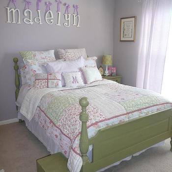 girl's rooms - Sherwin Williams - Veiled Violet - lavender walls, green furniture, girl bedroom, green bed, poster bed, pink and green bedding, green and lavender girls room,