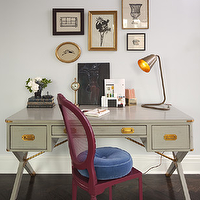 Lauren Stern Design - dens/libraries/offices - gray, campaign, sawhorse, desk, fuchsia, pink, cane, chair, round, royal blue, tufted, velvet, cushion, eclectic, art gallery, campaign desk, gray campaign desk,