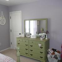 girl's rooms - Sherwin Williams - Veiled Violet - lavender walls, green dresser, girls dresser, vintage dresser, green vintage dresser,  bedroom