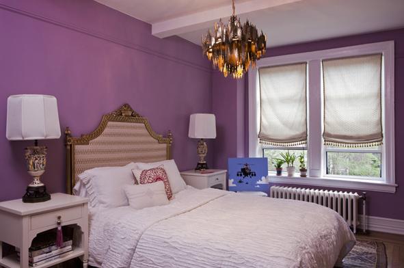 Purple walls eclectic bedroom lauren stern design for Violet bedroom designs
