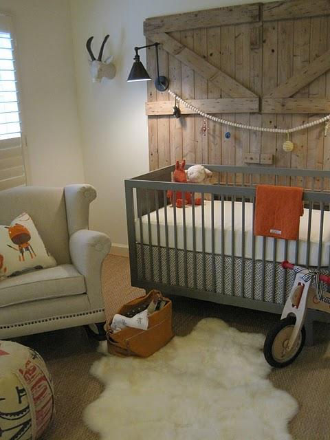 Sherry Hart Designs - nurseries - gray, modern, crib, orange, accents, rustic, sliding, barn door, linen, rolled-arm, chair, nailhead trim, sisal, rug, boy nursery, boys nursery, grey and orange nursery, grey and orange nursery design, gray and orange nursery bedding, grey and orange nursery bedding, gray and orange crib bedding, grey and orange crib bedding,