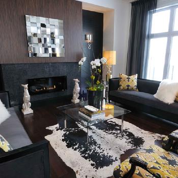 Yellow velvet chairs transitional living room studio for Dark yellow living room