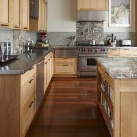 Andre Rothblatt Architecture - kitchens - maple kitchen cabinets, maple cabinets, stainless steel countertops, two tone countertops, granite countertops,