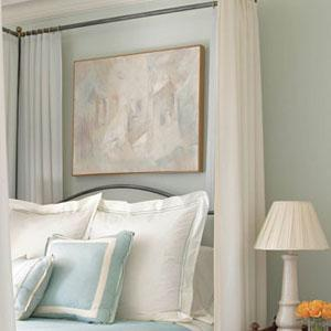 Phoebe Howard - bedrooms - blue gray walls, blue gray paint colors, blue gray wall paint, canopy bed, iron canopy bed, white and blue bedding,