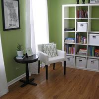 Blogging Molly - dens/libraries/offices - ikea expedit, expedit bookcase, ikea expedit bookcase, white ikea bookcase, white ikea expedit bookcase, green walls, green wall paint, green paint colors,