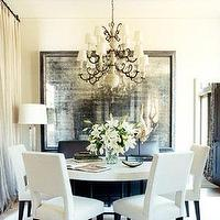 dining rooms - Benjamin Moore - Seashell - mirror, dining, white, contemporary,  Glam sophisticated dining room.   The masculine contemporary