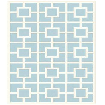 Labyrinth Blue Cotton Loop Pile Rug