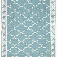Rugs - DL Rhein Wilshire Turquoise Hook Rug - blue, greek key, moorish, rug