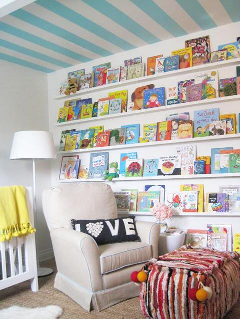 Elizabeth Sullivan Design - nurseries - gender neutral nursery, blue and yellow nursery, turquoise and yellow nursery, turquoise blue and yellow nursery, yellow throw, yellow throw blanket, nursery book legde, book ledge, stacked book ledges,