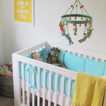 Elizabeth Sullivan Design - nurseries - gender neutral nursery, turquoise crib bumper, turquoise blue crib bumper, blue and yellow nursery, turquoise and yellow nursery, turquoise blue and yellow nursery, yellow throw, yellow throw blanket, blabla mobile, crib mobile, , Big Jungle Mobile,